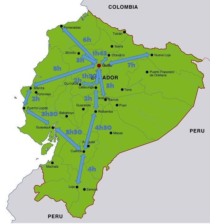 Temps de trajets villes Equateur